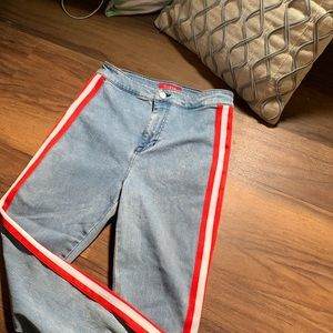 GUESS High Waisted Red & White Striped Jean